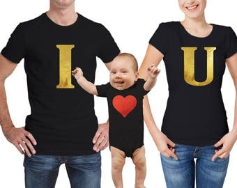 Valentine's day family matching black T-shirts and baby grow set.