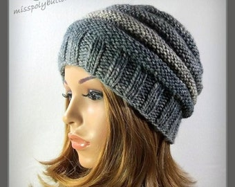 Womens knit hat, beehive ribbed hat in shades of gray, hand knit winter hat great gift for her