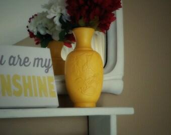 Handmade Yellow Vase - Ceramic Vase - Mountain Motif - Home Decor - Pottery Vase - wedding gift- 1970s - Small Vase - Handmade