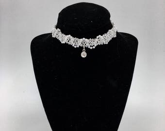 White Pearl Lace Choker- With Charm
