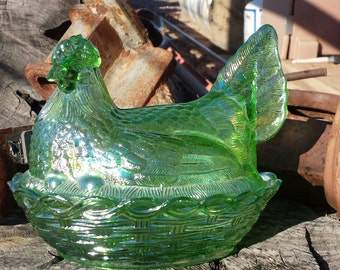 Beautiful Iridescent Green - Hen in Nest - Vintage Carnival Glass Candy Dish