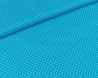 Cotton Judith white dots on Turquoise (8,90 EUR / meter)