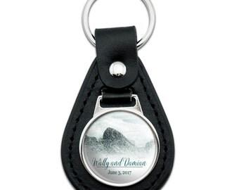 Crashing Waves Ocean Wedding Personalized Black Leather Keychain