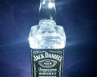 Upcycled Jack Daniel's Battery Powered White LED Light Lamp (70cl)