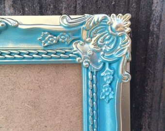 4x6, Teal and Gold, Vintage Style Baroque Picture Frame, French Country, Wedding Table Number Frames, Ornate, Shabby Chic