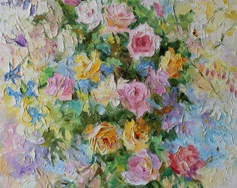 Original oil painting, roses in garden