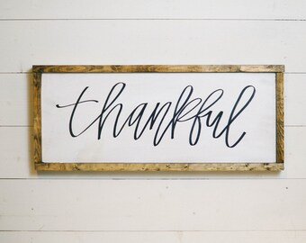 Thankful | Hand Lettered Wood Sign