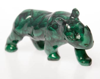 Malachite crystal rhino figurine