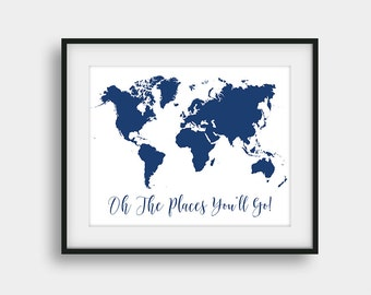 60% OFF Oh The Places You'll Go Print, Nursery World Map Print, Navy Wall Decor, Dr. Seuss Quote Print, Baby Room Decor, Boys Room Decor