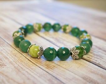 Natural Green Agate Petal Bracelet