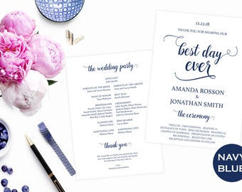 Navy Blue Wedding Program - Blue Wedding Programs - Wedding Program Printable Template - Downloadable wedding #WDH0144