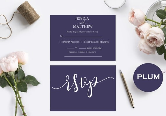 RSVP postcards templates - Wedding rsvp cards - RSVP Plum Purple Template  - rsvp Templates Printable - Downloadable wedding #WDH0130