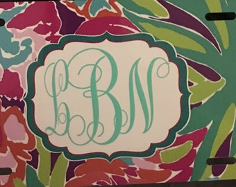 Monogrammed License Plate. Vinyl Decal License Plate.Initial License Plate.