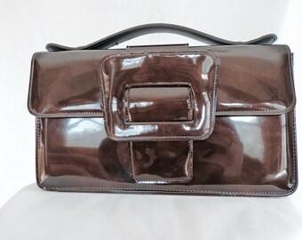 50% Off! 1960s Brown Patent Leather Delicato Mod Handbag