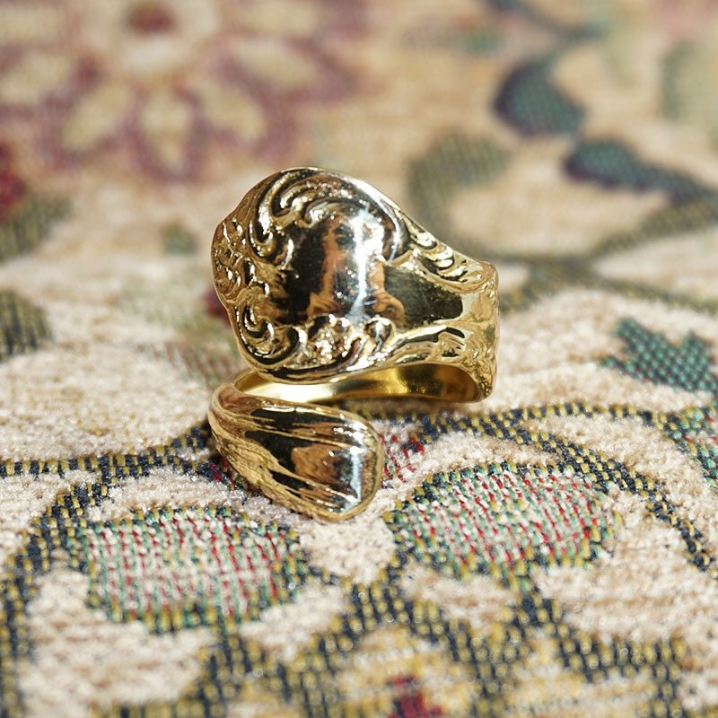 gold spoon ring wisteria vintage spoon ring
