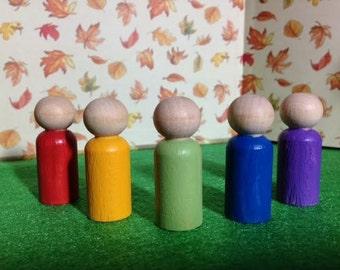 Mini Peg People - Colorful Set of 5