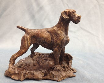 German Wirehaired Pointer Bronze figurine by Leslie Hutto