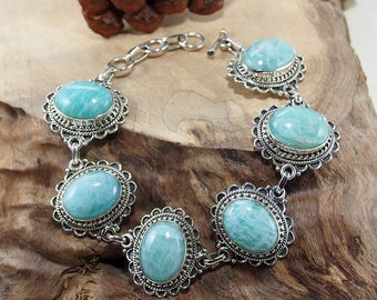Amazonite Bracelet Sterling Silver Bracelet Gemstone Bracelet Genuine Jewelry -Crystal  blue amazonite silver adjustable retro bracelet Gift