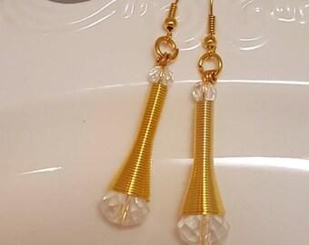 Beautiful Clear Crystal Dangle Earrings