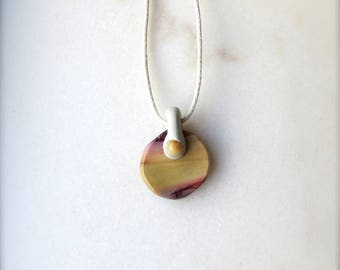 Mookaite Jasper Pendant /// Clay and Stone Healing Necklace /// Gift from the Earth
