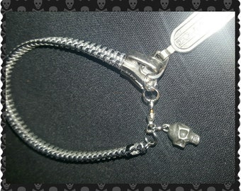 Black Zipper Bracelet w/ small grey metal Skull Charm