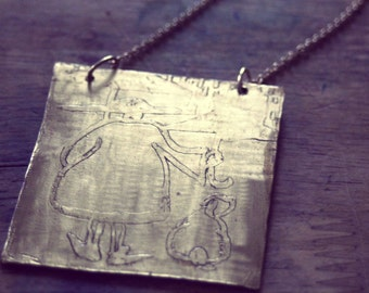 She who Must Be Kept Dry Etched in Brass Pendant Necklace