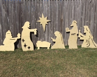 Large 7 piece glitter wooden silhouette yard nativity