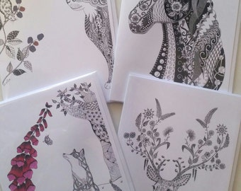 The Animal Collection - 4 Zentangle Art Cards: 'Cat and Mouse'; 'Henrietta' Horse; 'Catch Me If You Can' Fox; and 'Flora and Fauna' Stag