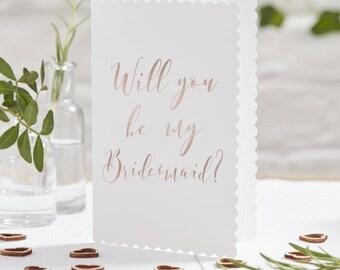 Rose Gold Bridesmaid Cards