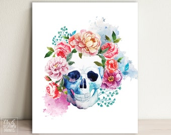Skull Flower - Home Decor - Day of the Dead - Floral Skull - Skeleton - Watercolor Skull - Skull Art Print - DIGITAL DOWNLOAD