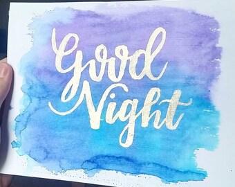 9x12 Good Night Watercolor Art
