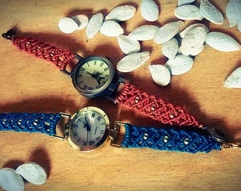 Vintage macrame bracelet watches