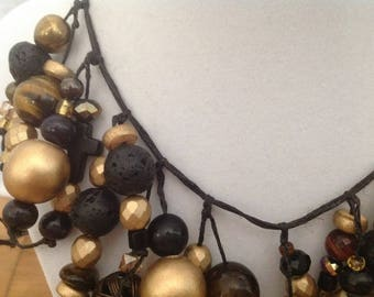 Wearable Art - Glamorous gold toned, brown and black statement necklace