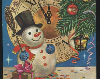 Happy New Year! Snowman and gifts - The last minutes of the old year on the clock. Art. Grudnina. USSR postal stationery