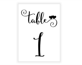 1-30 Black Wedding Table Numbers, 5x7 Printable Wedding Table Numbers, Elegant Wedding Table Decor, Table Number Cards, Instant Download