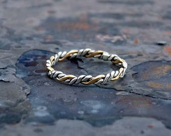 Sterling Silver and 14K Gold Fill Tight Double Twist Flat Ring by Navillus Metal Works: