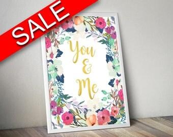 Wall Decor You And Me Printable You And Me Prints You And Me Sign You And Me  Printable Art You And Me marriage print typography poster