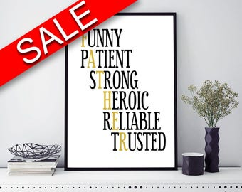 Wall Art Father Digital Print Father Poster Art Father Wall Art Print Father  Wall Decor Father black and gold father gift typography