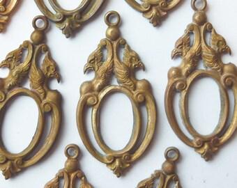 Art Deco French Dragon Pendant(1pc)Griffon/Brass Serpent/Serpent setting/Brass Serpent pendant/Goth serpent pendant/goth setting/Larping