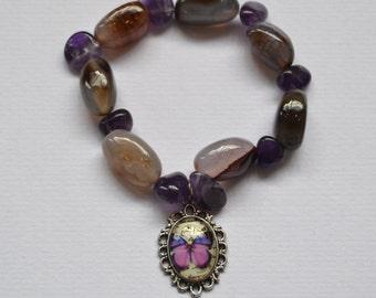 amethyst and stone butterfly bracelet