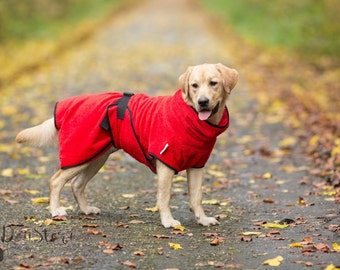Dog Bathrobe red - Made to Order - Doggy bathrobe
