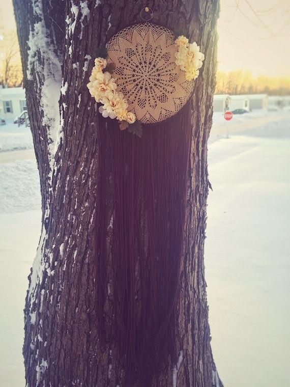 "Penelope L 10"" Golden Flower Gate Bohemian Dream Catcher"