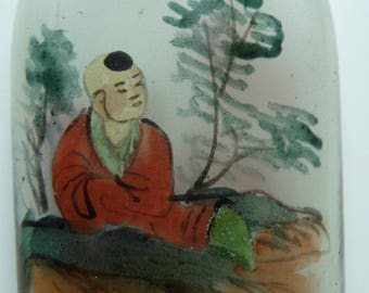 Antique Chinese snuff bottle, hand painted inside, with figures