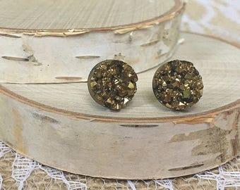 Pyrite Earrings - 10mm
