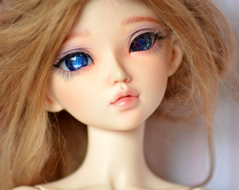 Minifee,Bjd,Unoa eyes in dark blue with swarovski elements in each eye//14mm