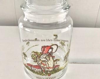Vintage Holly Hobbie glass apothecary jar