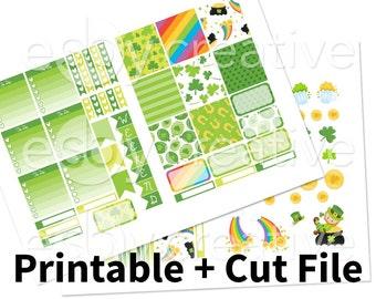 St. Patricks Day Theme - Weekly Sticker Kit Printable for Erin Condren Horizontal - HWK-004 - INSTANT DOWNLOAD