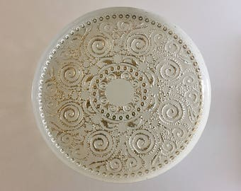 Swirls white and silver glass cake stand