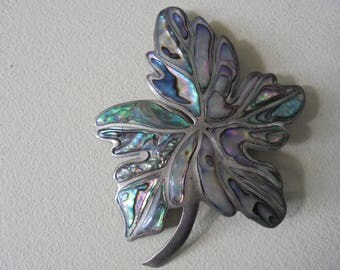 Vintage Mexican Silver Brooch 925 Silver Abalone/MOP Inlay