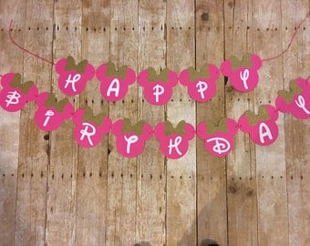 Minnie Mouse Inspired Birthday Banner, Minnie Pink and Gold Banner, SALE!! Minnie Mouse Party, Minnie Mouse Birthday, Minnie Mouse